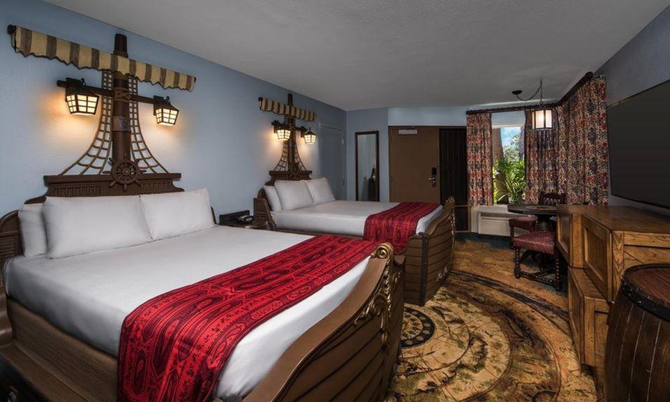 At Disney's Caribbean Beach Resort, palm trees, colonial