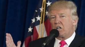Republican presidential candidate Donald Trump speaks during a