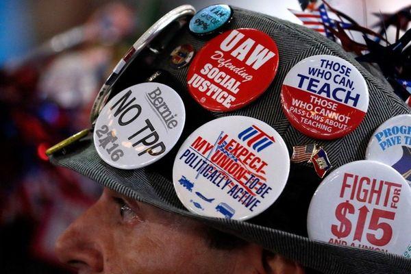 A delegate in support of Sen. Bernie Sanders