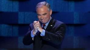 Vice President nominee Tim Kaine acknowledges the crowd
