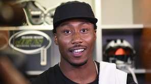 Jets wide receiver Brandon Marshall answers questions from