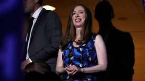 Chelsea Clinton, daughter of Hillary Clinton, applauds during
