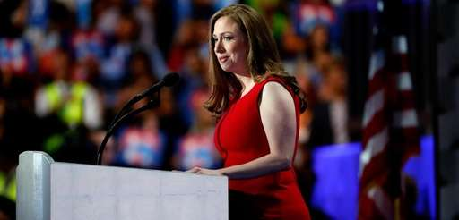 Chelsea Clinton arrives on stage to introduce her