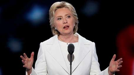 Democratic presidential nominee Hillary Clinton speaks during the