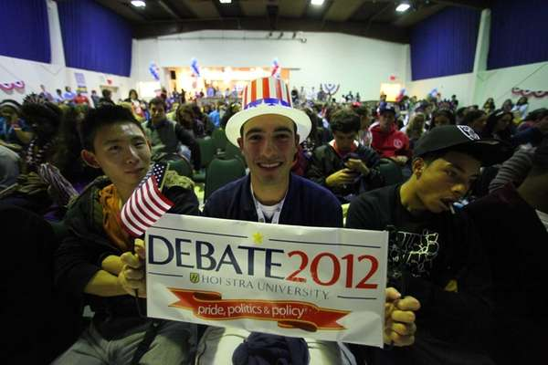 George Calvo, of Farmingdale, during the viewing party