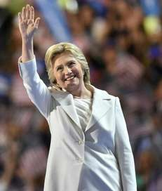 Democratic presidential nominee Hillary Clinton speaks at the