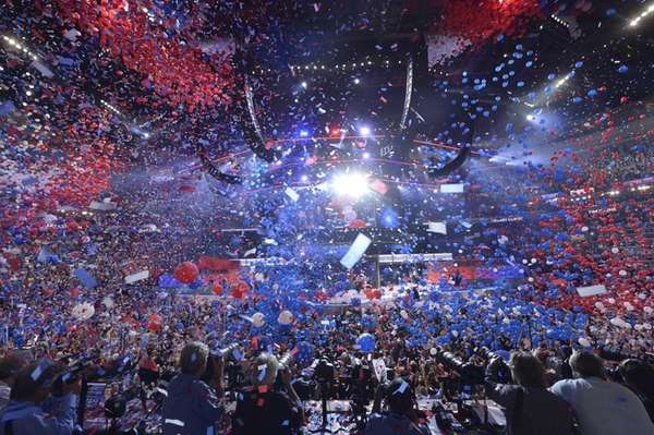 Balloons come down on Democratic presidential nominee Hillary