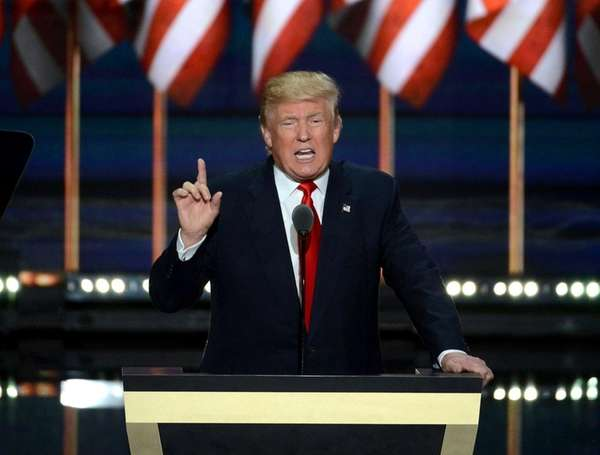 GOP presidential nominee Donald Trump speaks at the