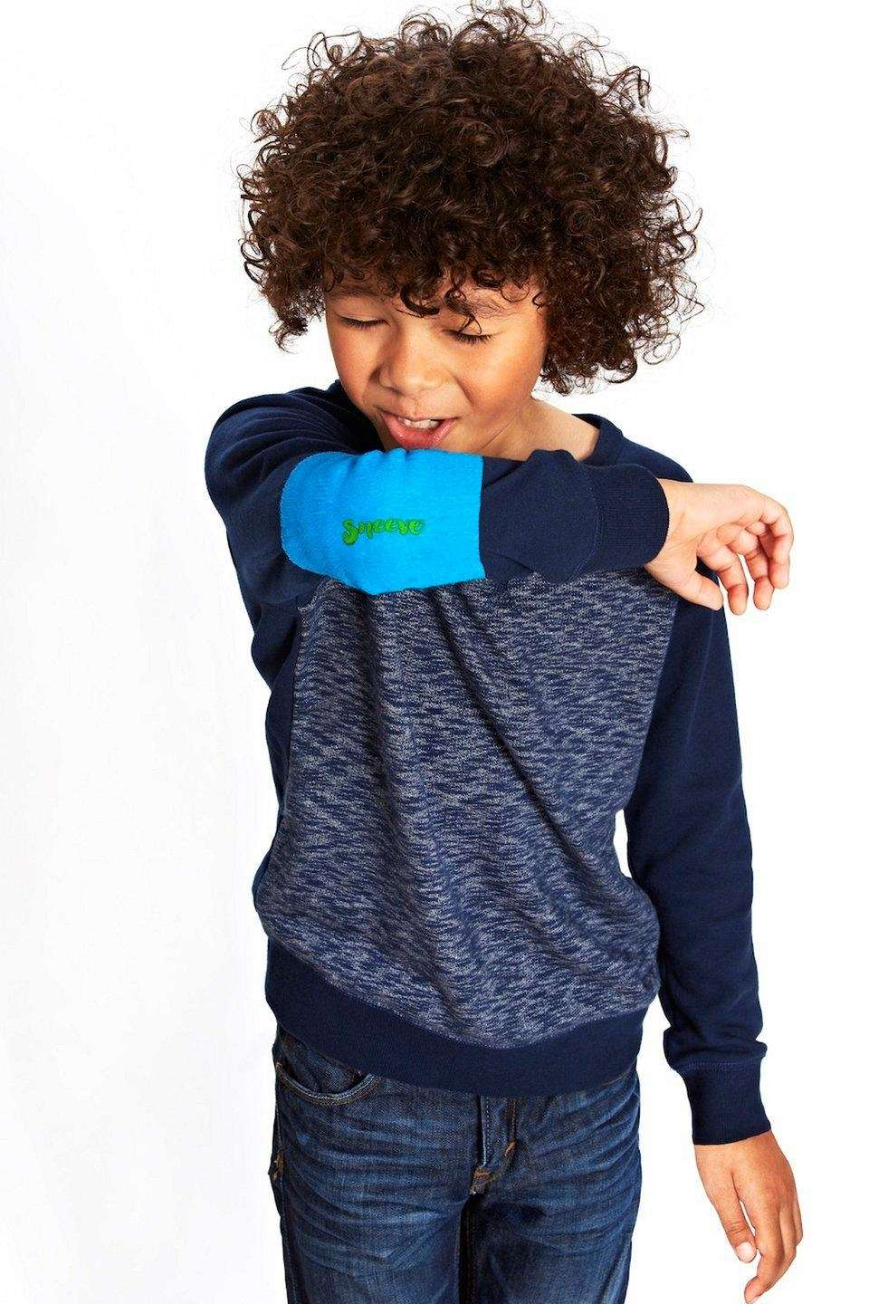 The Sneeve, a stretchy, blue, antimicrobial sleeve that