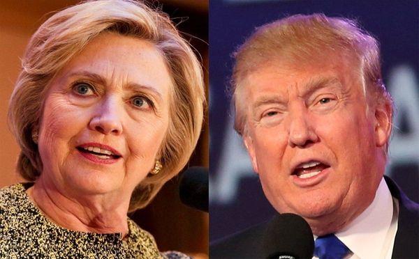 Photo composite of Presidential candidates, Democrat, Former Secretary