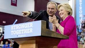 Democratic presidential candidate Hillary Clinton and Democratic vice