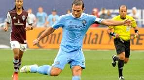 NYCFC's Frank Lampard takes a shot on goal