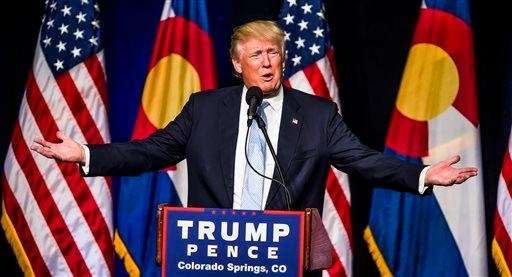 Republican presidential candidate Donald J. Trump speaks Friday,