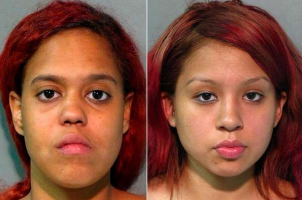 Eskarlin Pena, 18, left, and Marywil Gomez, 16,