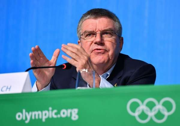 IOC President Thomas Bach speaks during a Press