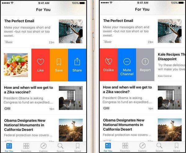 Now in the Apple News app, swipe left