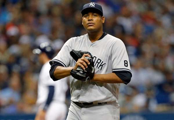 New York Yankees starting pitcher Ivan Nova reacts