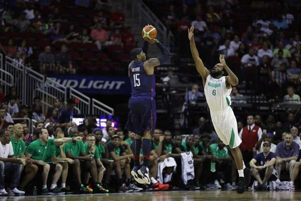 Carmelo Anthony of the United States takes a