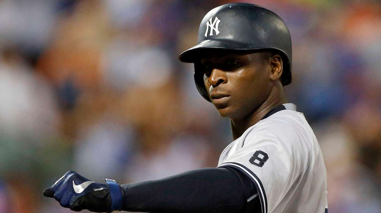 Didi Gregorius of the New York Yankees reacts