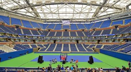 A view of Arthur Ashe Stadium with the