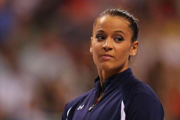 Alicia Sacramone is introduced prior to competing in