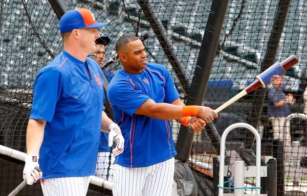 Jay Bruce #19 and Yoenis Cespedes #52 of