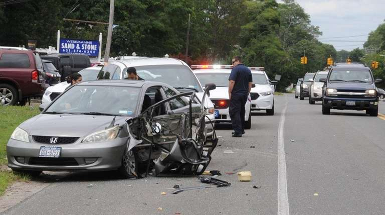 Suffolk County police respond to a crash at