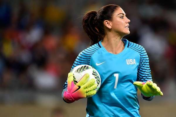 Hope Solo #1 of United States looks on