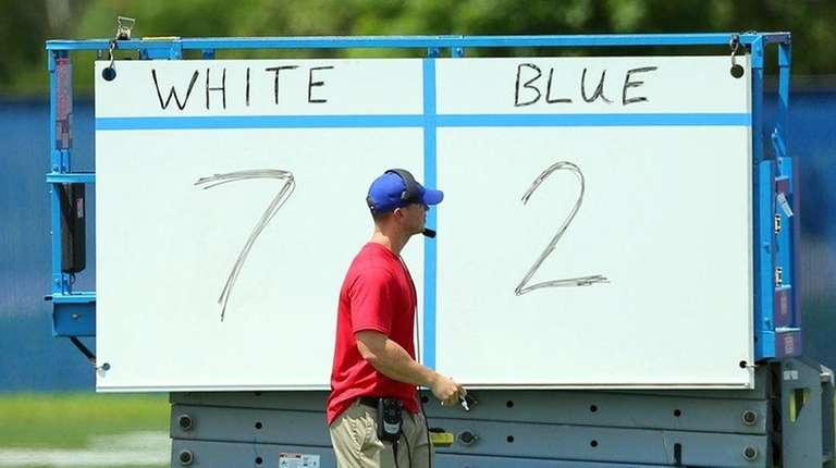 Score is kept between the Giants offense (white)