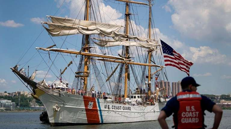 The 295-foot Coast Guard Cutter Eagle arrives near