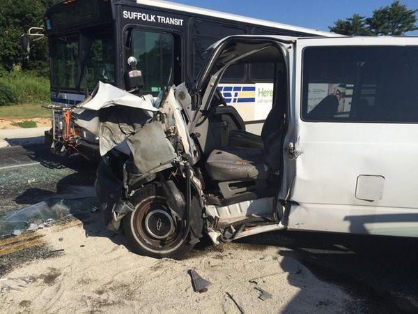 A crash between a van and a Suffolk