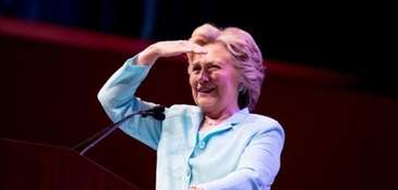 Democratic presidential candidate Hillary Clinton speaks at the