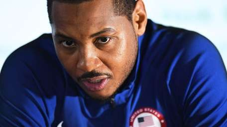 Carmelo Anthony of the USA speaks during a