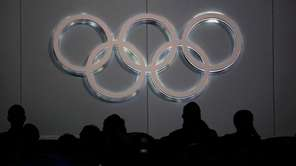 The Olympic Rings on display during the Opening