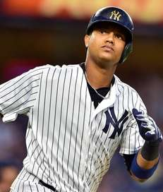 New York Yankees second baseman Starlin Castro looks