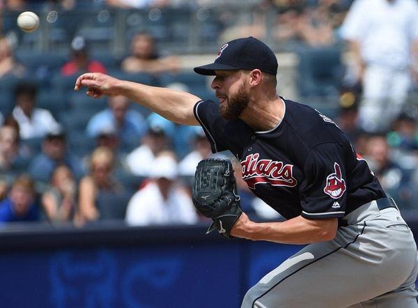 Cleveland Indians starting pitcher Corey Kluber delivers against