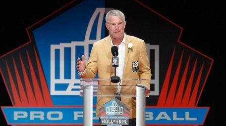 Brett Favre, former NFL quarterback, speaks during his