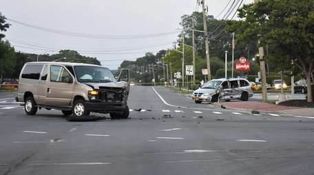The scene of the crash on Route 25A