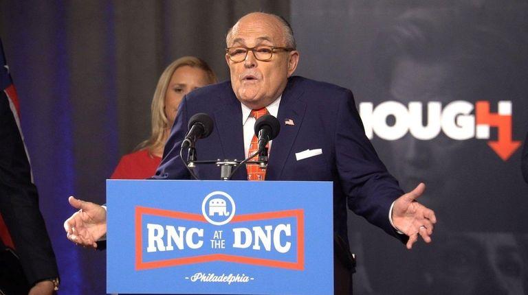 Former New York City Mayor Rudy Giuliani speaks