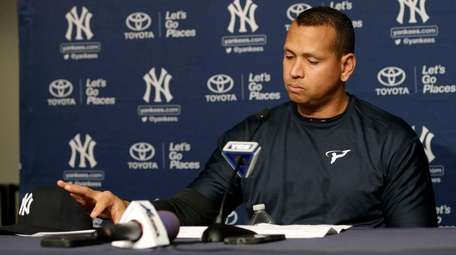 New York Yankees designated hitter Alex Rodriguez reacts