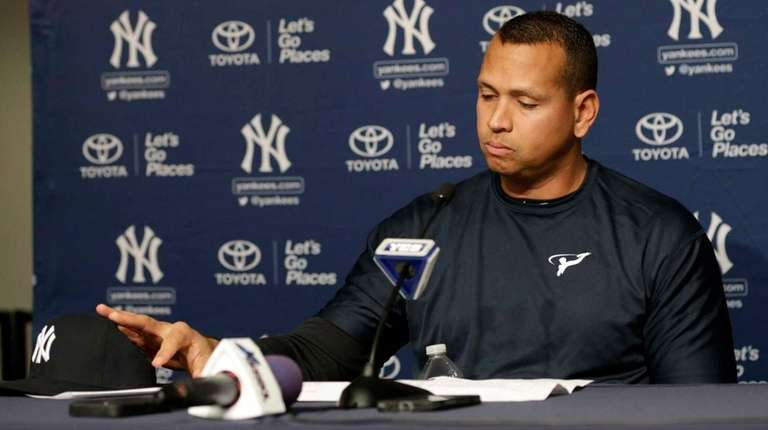 New York Yankees designated hitter Alex Rodriguez reacts