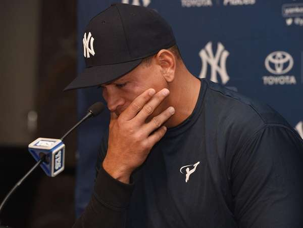 New York Yankees designated hitter Alex Rodriguez speaks