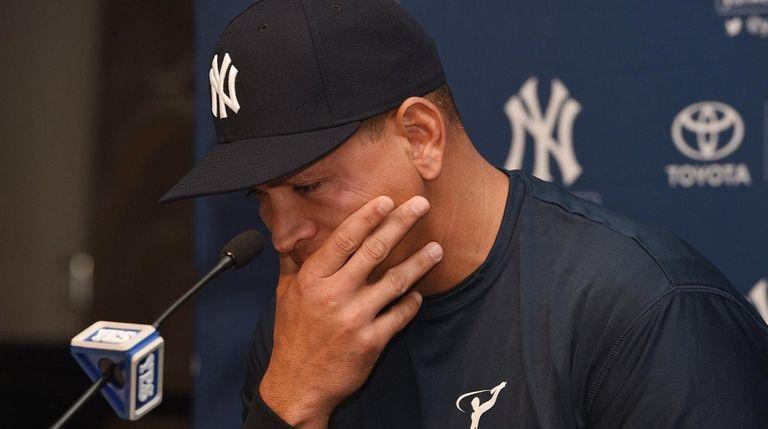 New York Yankees designated hitter Alex Rodriguez speaks