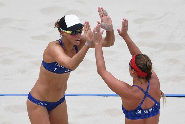 Lauren Fendrick, left, celebrates with Brooke Sweat of