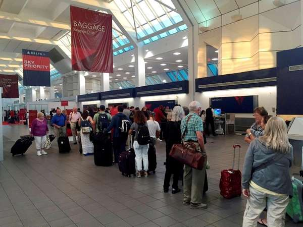 The line at the Delta Air Lines terminal