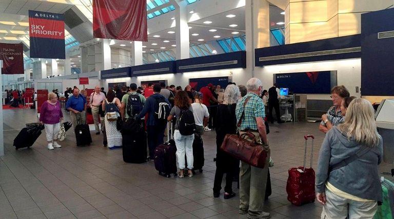 The line at the Delta Terminal at LaGuardia