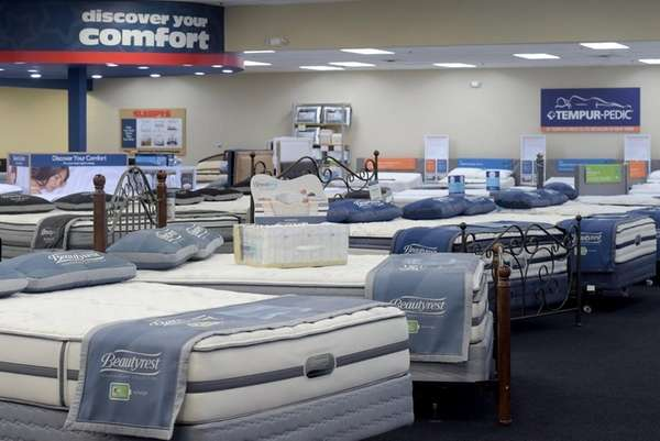 Mattress Discounters Store Sleepys Beds. . The Difference. Brown Wool Queen Bed Frame ...