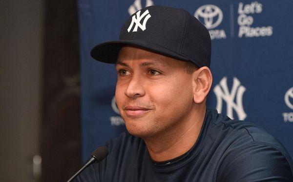 New York Yankees' Alex Rodriguez speaks at a