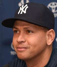 New York Yankees' Alex Rodriguez speaks at a