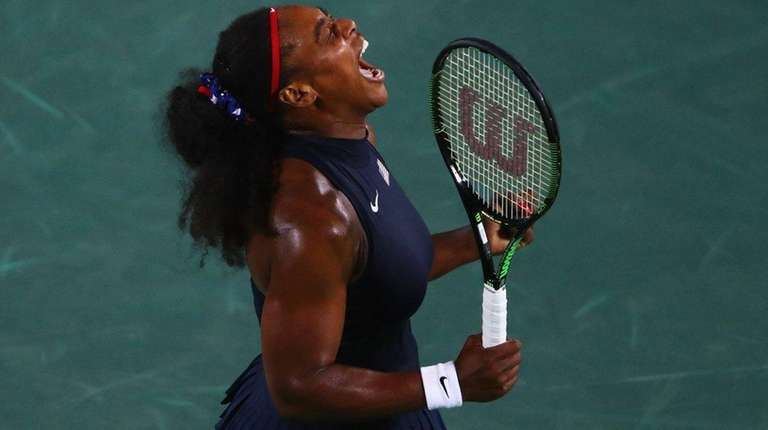 Serena Williams of the United States reacts during